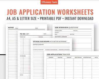 sollicitatie planner Job Application Tracker, Job Interview vragen Planner, To Do List  sollicitatie planner