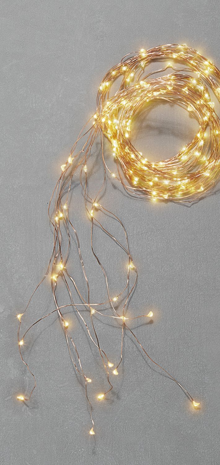 Starry Warm-White Copper Cascading Garland, 8.5ft | Fairy, Lights ...
