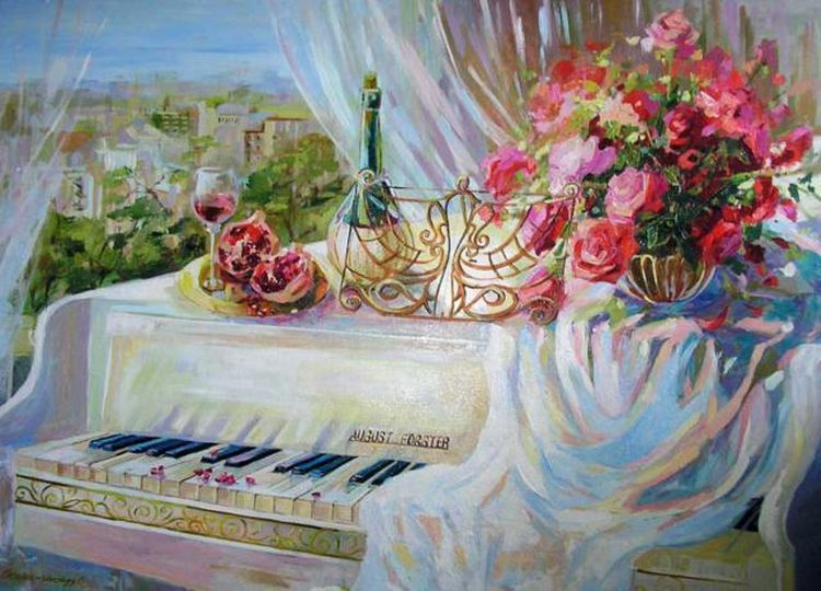 Картинки по запросу белый рояль и цветы