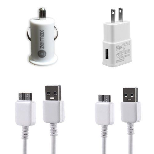Zeimax® Samsung Galaxy Note 3 USB 3.0 Cable, Car & Wall Charger 4 Pc Set - Includes (2) 3 Ft Cable, (1) Car Charger... - Listing price: $29.99 Now: $9.99
