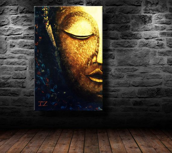 Oil Painting Modern Art Glowing Buddha Canvas Paintings On Wall Abs