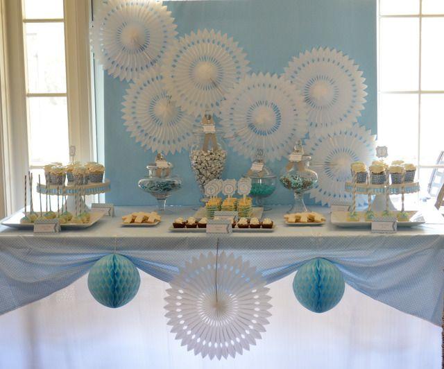 Baby Blue And Silver Grey Baptism Party Ideas Fiesta De