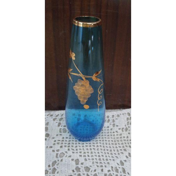 Bud Vase Royal Blue Gold Grape Pattern By Noplacelikevintage