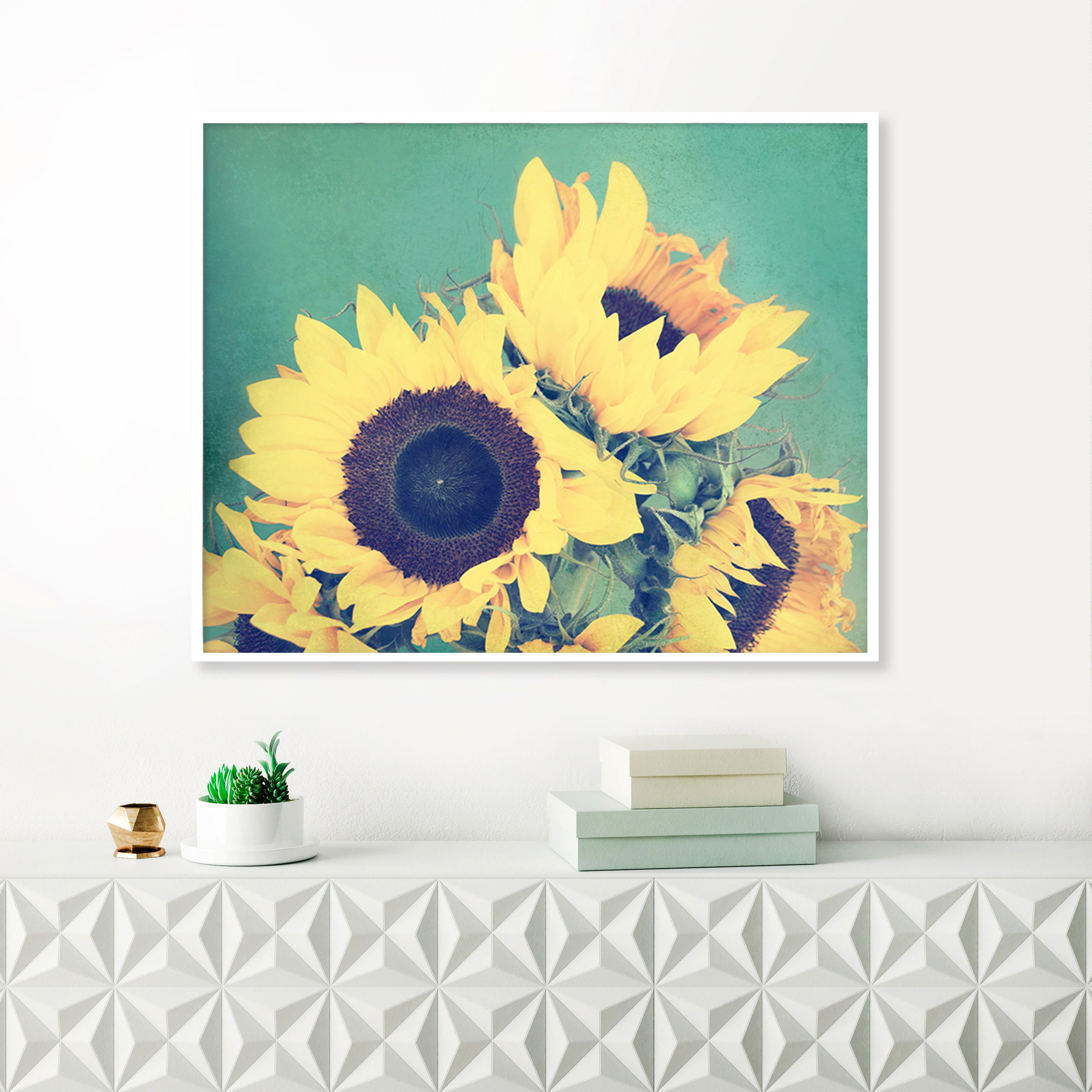 Sunflower Photograph, Printable Flower Photograph, Yellow and Teal ...