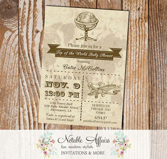 Boy baby shower old world map globe rustic vintage baby shower boy baby shower old world map globe rustic vintage baby shower invitation top of the world gumiabroncs Images