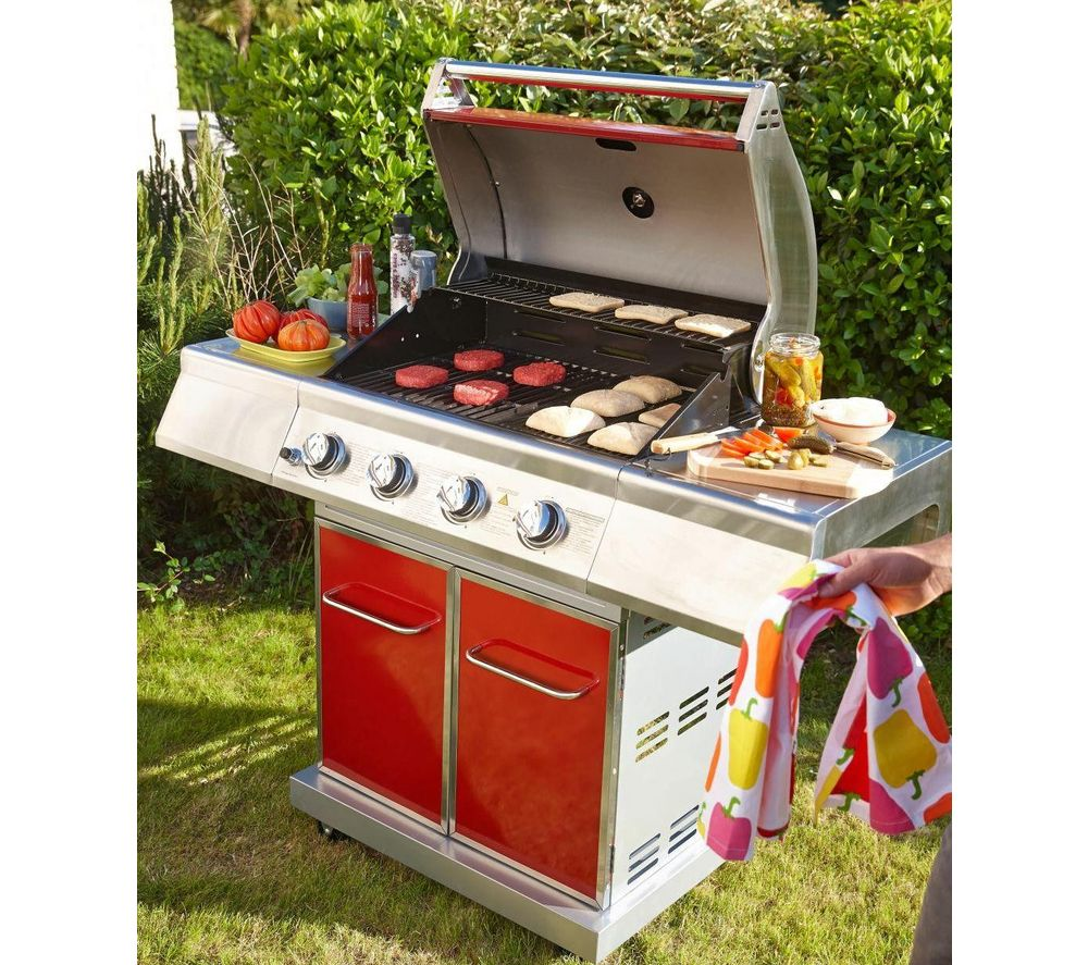 Barbecue Gaz Promotion Lebarbecue Barbecue Premium Gaz 4 Feux Rouge Barbecue Carrefour