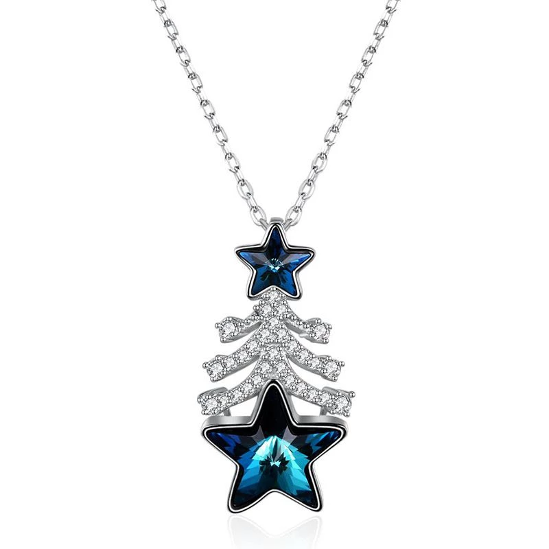 Sterling Silver Christmas Tree Shape Pendant Luxury Crystal Necklace #sunflowerchristmastree