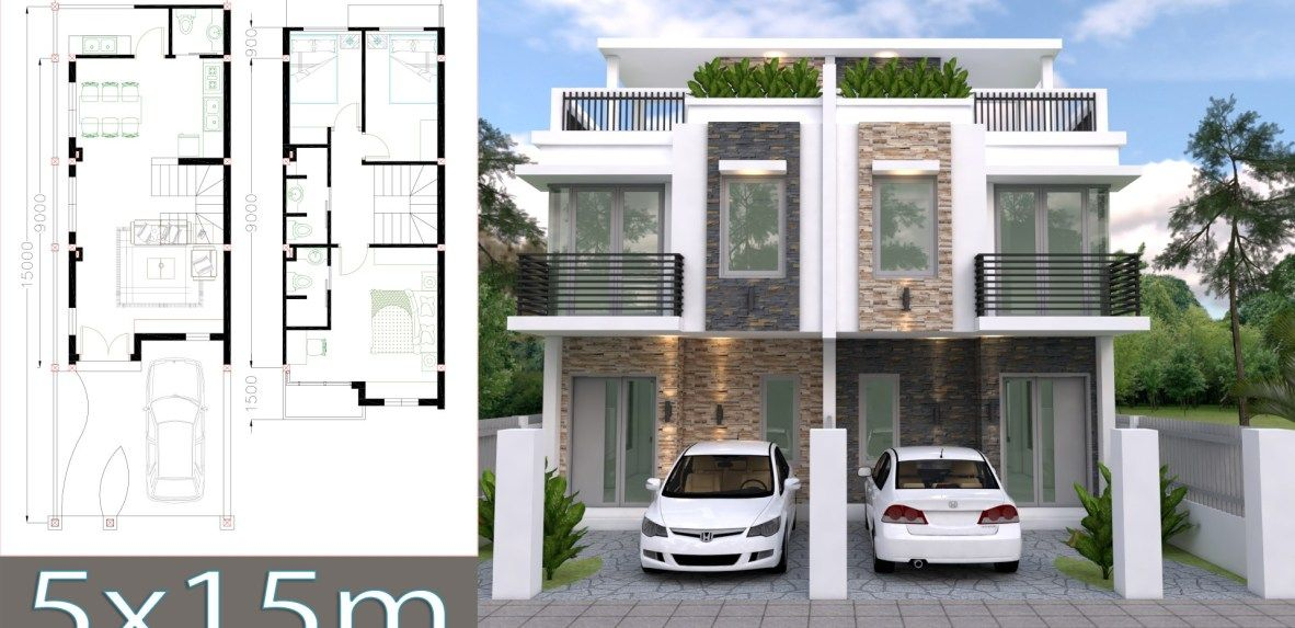 Home Design Plan 5x15m Duplex House With 3 Bedrooms Front Samphoas Plan Home Design Plan Duplex House Modern House Plans