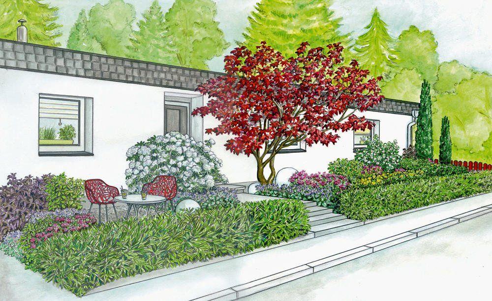 1 Garten 2 Ideen Ein Vorgarten Wird Zum Einladenden Entree Vorgarten Gestalten Vorgarten Vorgarten Anlegen