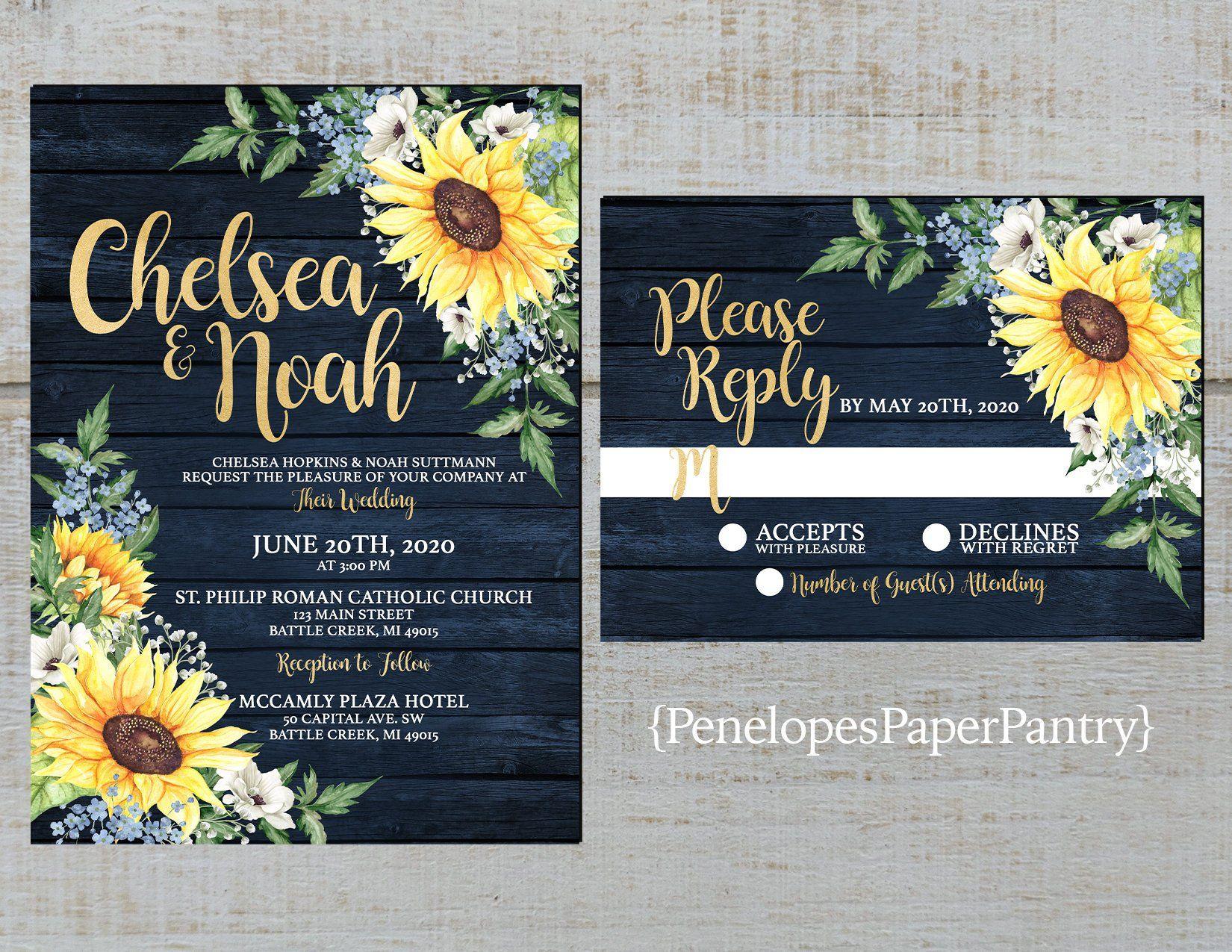 Elegant Rustic Navy Sunflower Wedding Invitation
