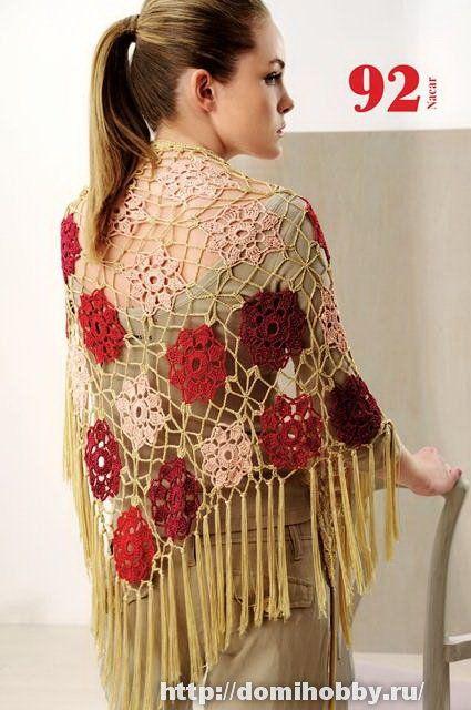 схемы вязания крючком шалей и палантинов шали Crochet Shawl