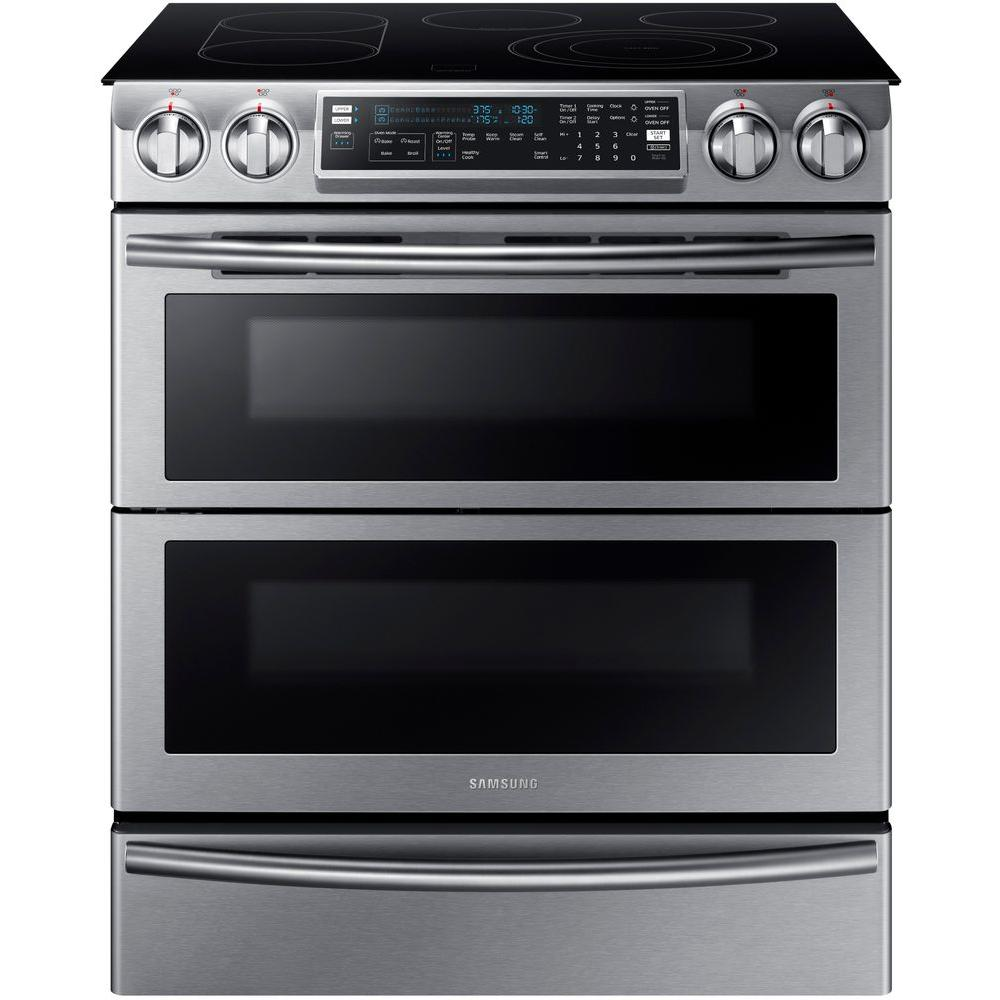 Samsung Flex Duo 5 8 Cu Ft Slide In Double Oven Electric Range With Self Cleaning Conv Electric Double Oven Double Convection Oven Double Oven Electric Range