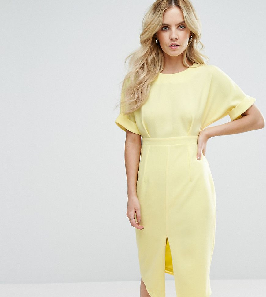 ASOS PETITE Smart Woven Dress with V Back and Split Front - Yellow ...