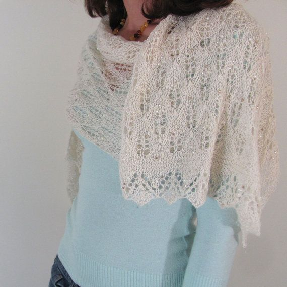 Ivory Hand Knit Lace Wrap Scarf with Beads by JiSTknits on Etsy ...
