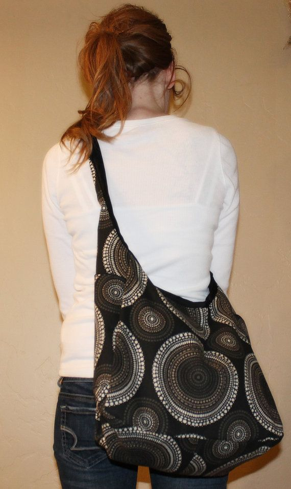 Black Patterned cross body shoulder bag tote by amourlily on Etsy 35.00