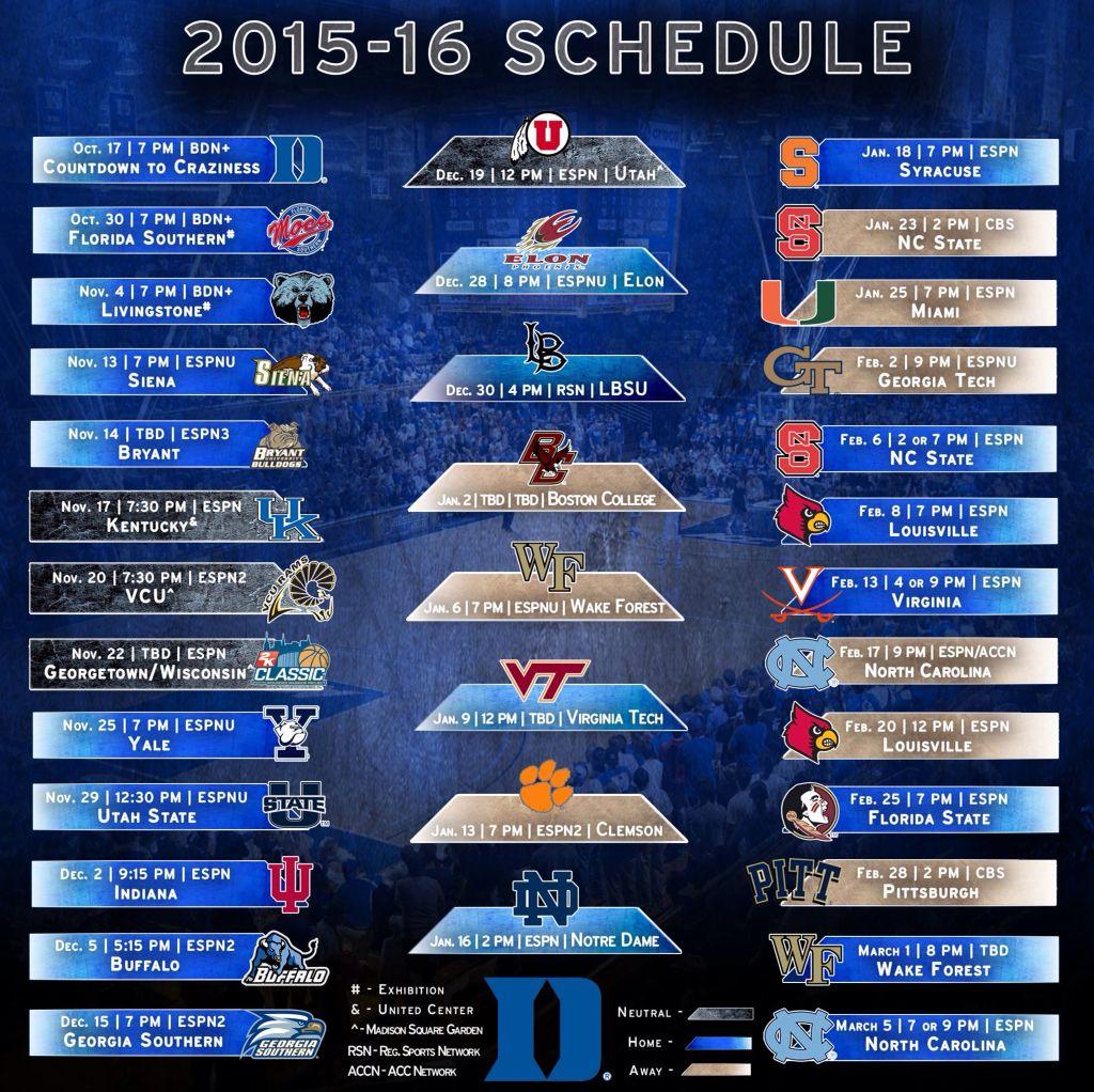 2015-16 DUKE Men's Basketball Schedule | True Blue! | Duke