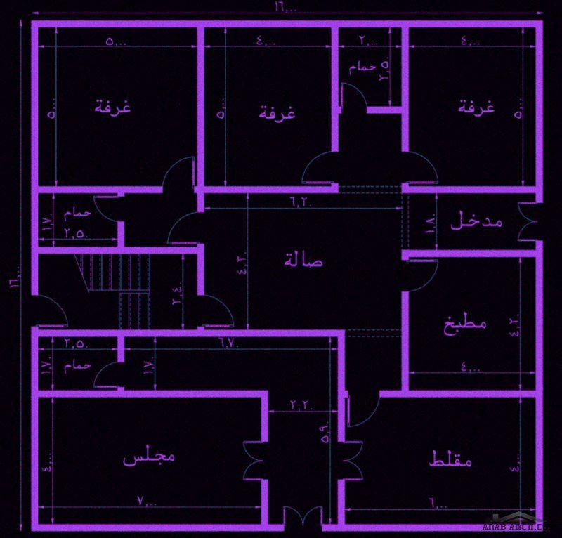 تصميم مبنى دور وشقتين ابعاد البناء 16 16 متر