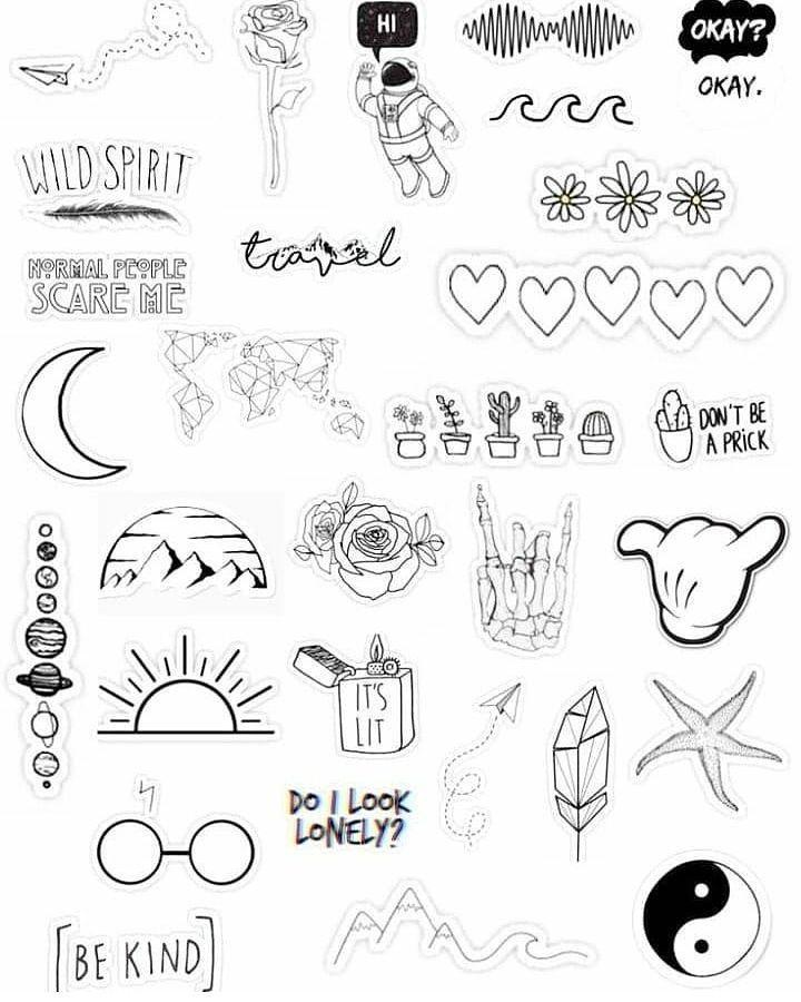 اینم از انواع طرح تتومینیمال ورق بزنید Aesthetic Stickers Tumblr Stickers Black And White Stickers