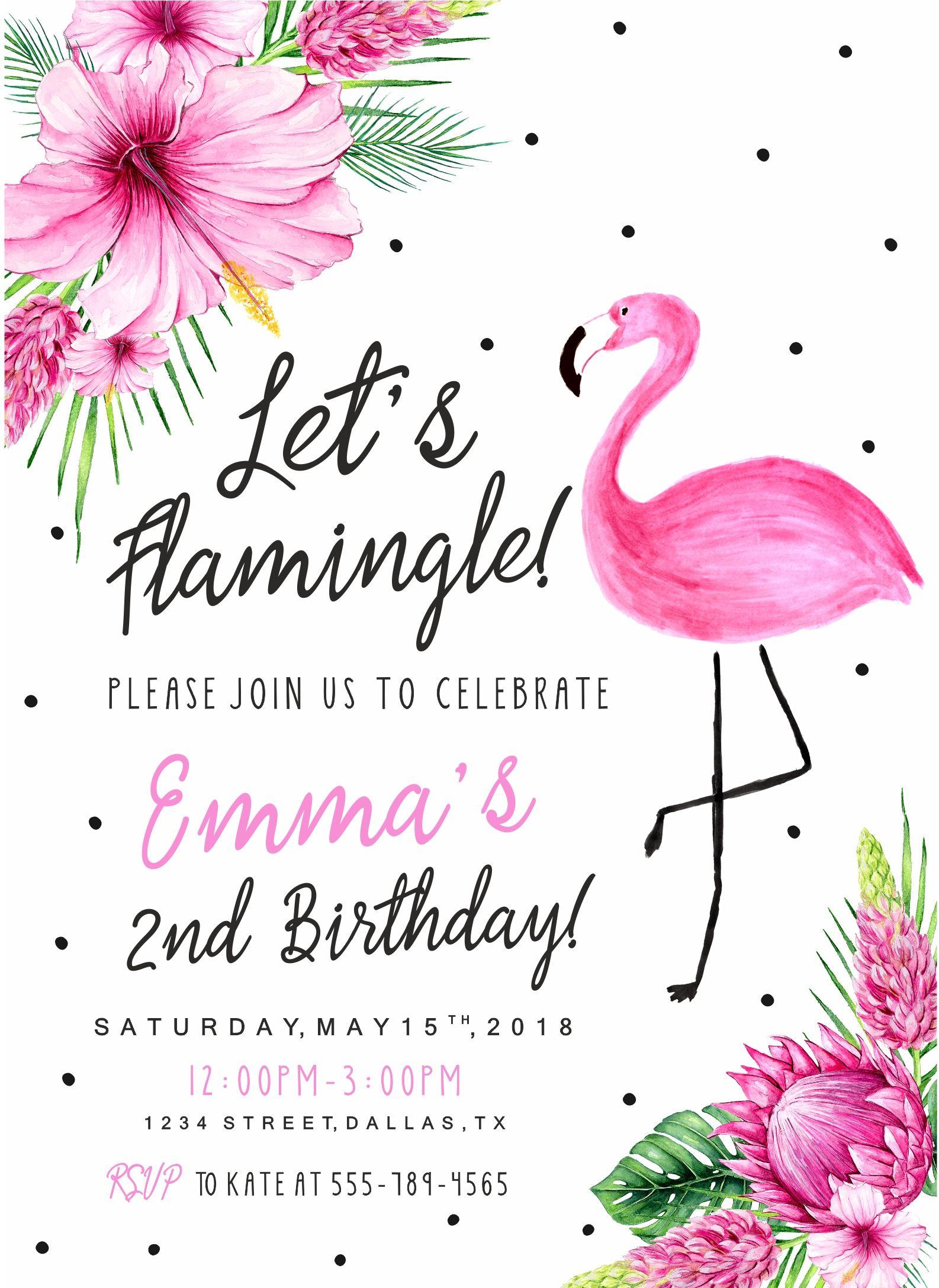 Flamingo birthday invitation Flamingo Invitation Let s Flamingle