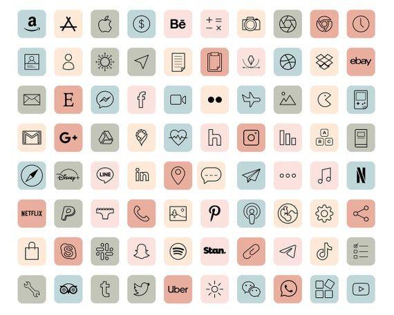 iOS 14 App Icons / 90 Pastel Aesthetic icons iOS14