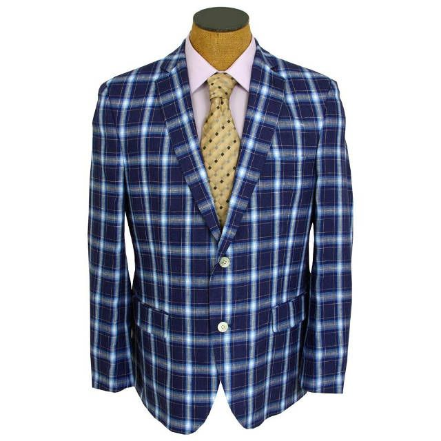 Tallia Men's Blue Plaid Linen Lightweight Sport Coat Jacket ...