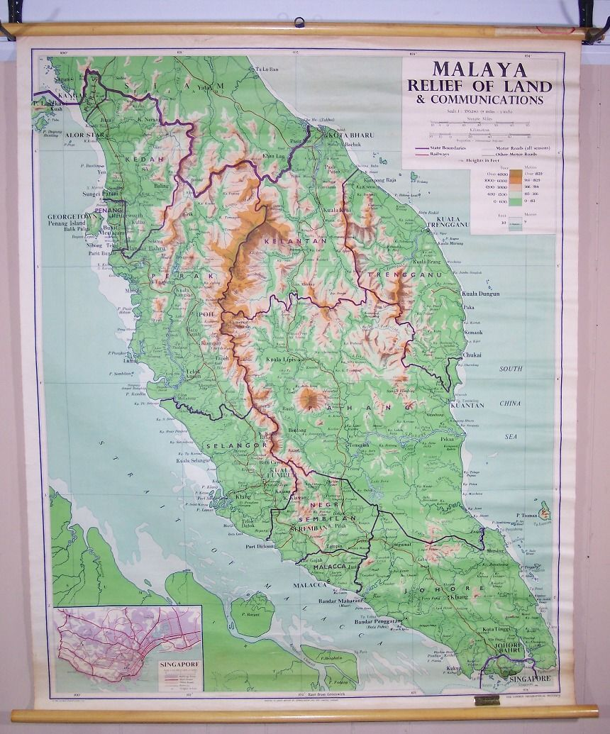 Malaya Relief Map Of Land Communications Handsome Wall Map Of - Jamaica shaded relief map 1968