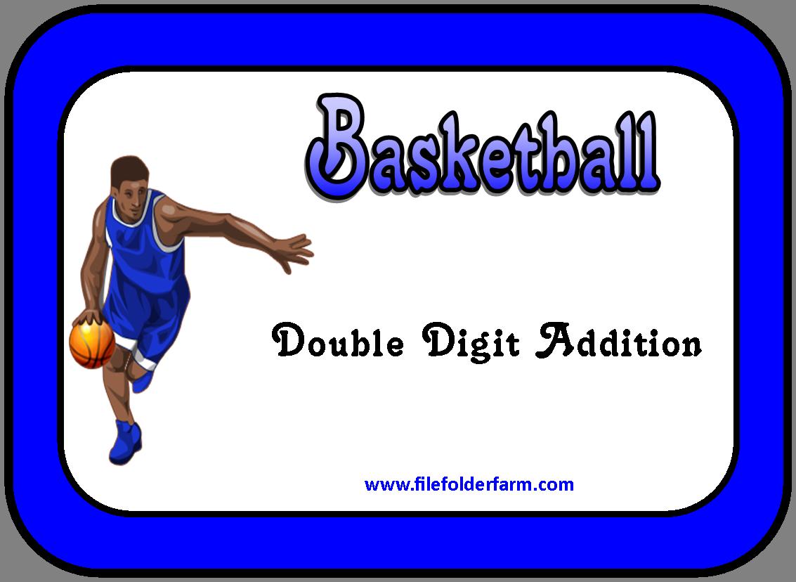 File Folder Farm Basketball Double Digit Addition