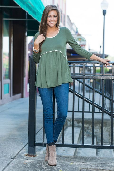 """""""Guided By Love Top, Olive""""This top is so similar to the Flower Child Top we just had to get it for you! Maybe you loved the other top but aren't the biggest fan of flowers or maybe you love the other top and just want another top in the same style!  #newarrivals #shopthemint"""