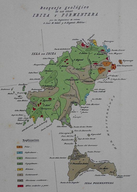 1881 Ibiza Formentera Baleares Pitiusic Islands Rare Geologic