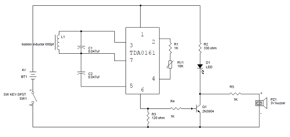 metal detector circuit diagram and working | circuit diagram, Wiring block
