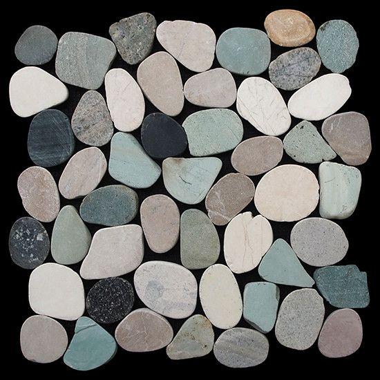 Pebble Tile Sliced Pebble Random Sized Natural Stone Pebble Tile in Multi Color…