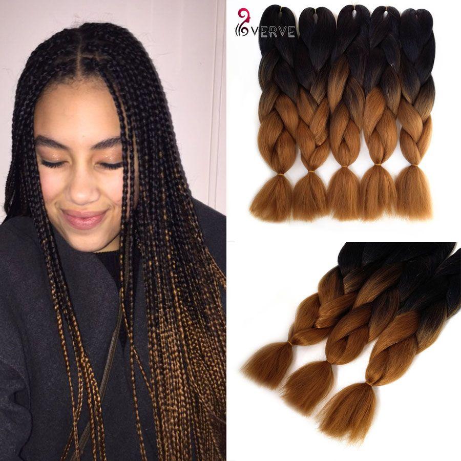 Wholesale Ombre Kanekalon Braiding Hair 100g Pcs Synthetic Two Tone High Temperature Fiber Kan Kanekalon Braiding Hair Braid In Hair Extensions Hair Extensions