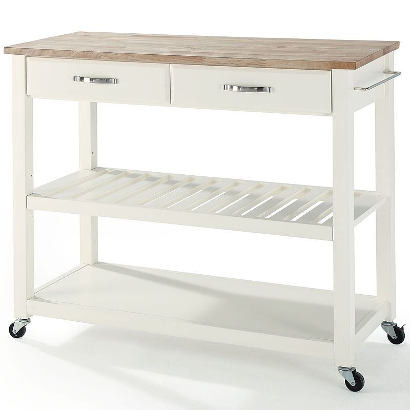 Geary Natural Wood Top Kitchen Island White Kitchen Cart