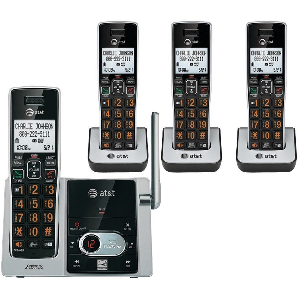At T 6 0 Cordless Answering System With Caller Id Call Waiting 4 Handset System Att Cordless Phone Caller Id Cordless Telephone