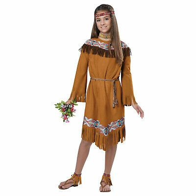 INDIAN PRINCESS CHILD KIDS NATIVE AMERICAN POCAHONTAS GIRLS COSTUME BROWN TAN