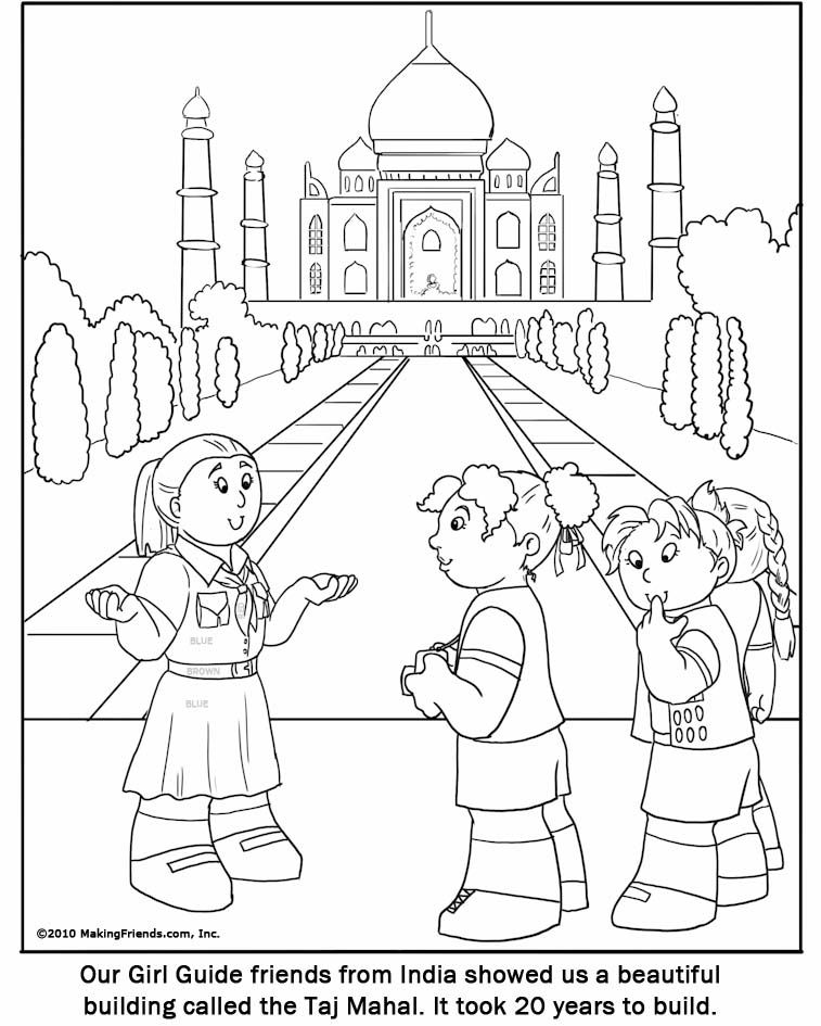 India Girl Guide Coloring Page India Thinking Day Pinterest