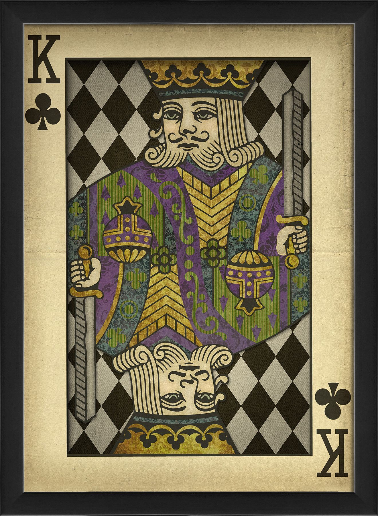 King Of Clubs Harlequin Playing Card Framed Graphic Art