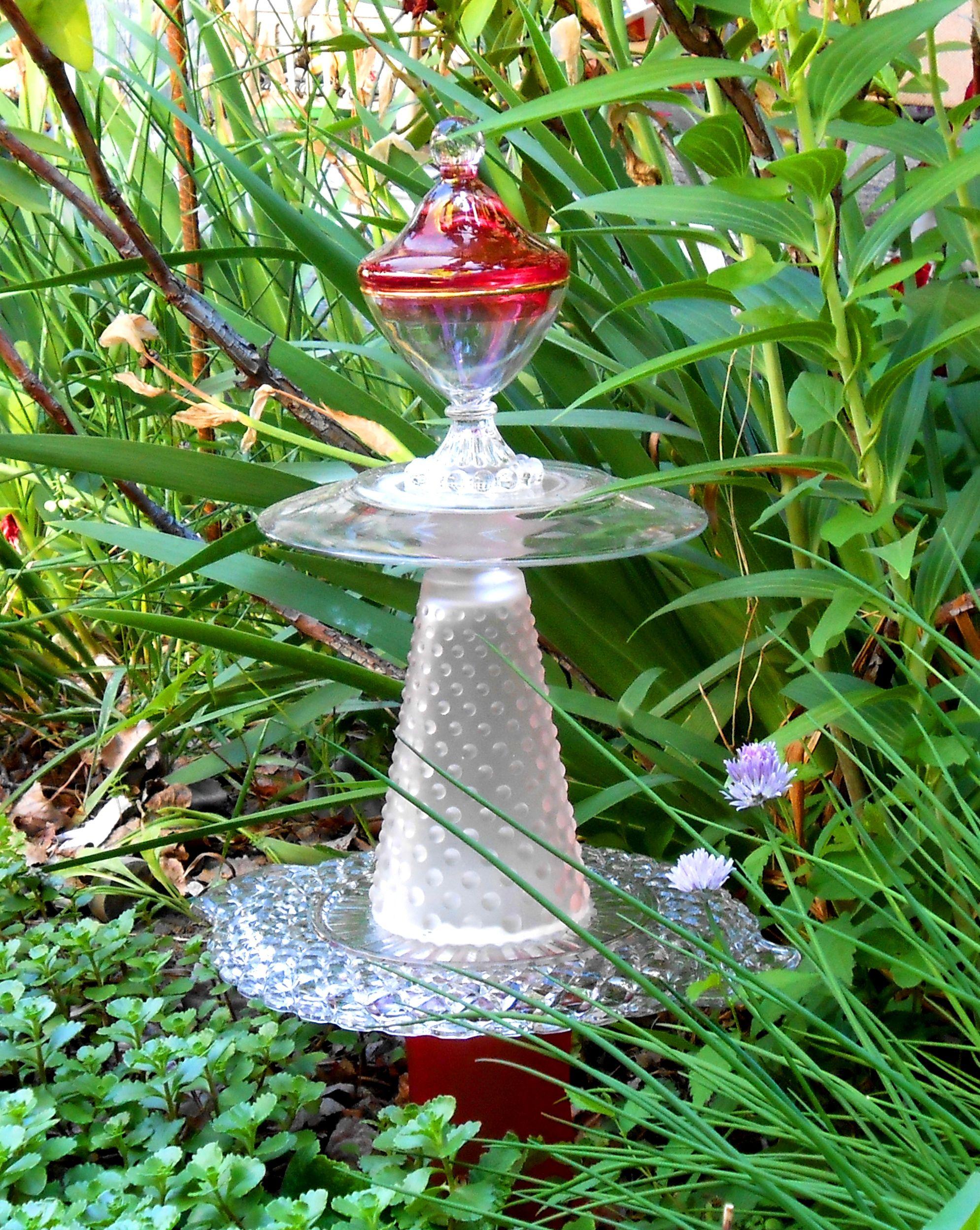 Garden Art Red Glass Tower Glass Garden Art Garden Art Crafts