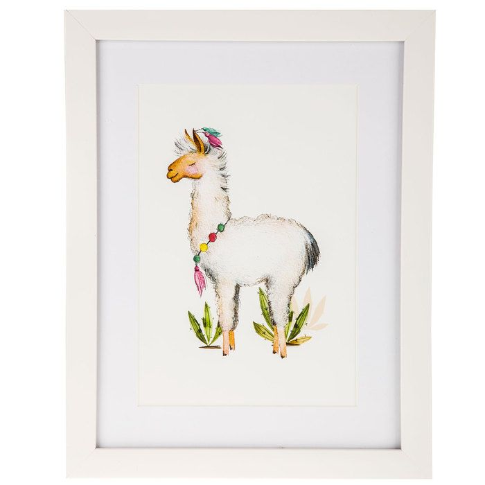 Llama With Necklace Framed Wall Decor
