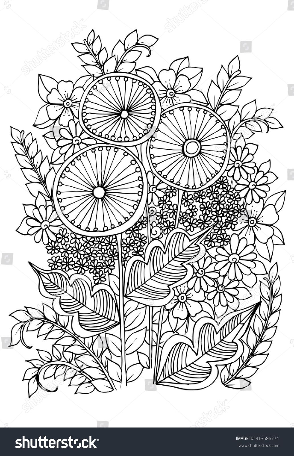 stock-vector-vector-doodle-flowers-on-a-white-313586774.jpg (1032 ...