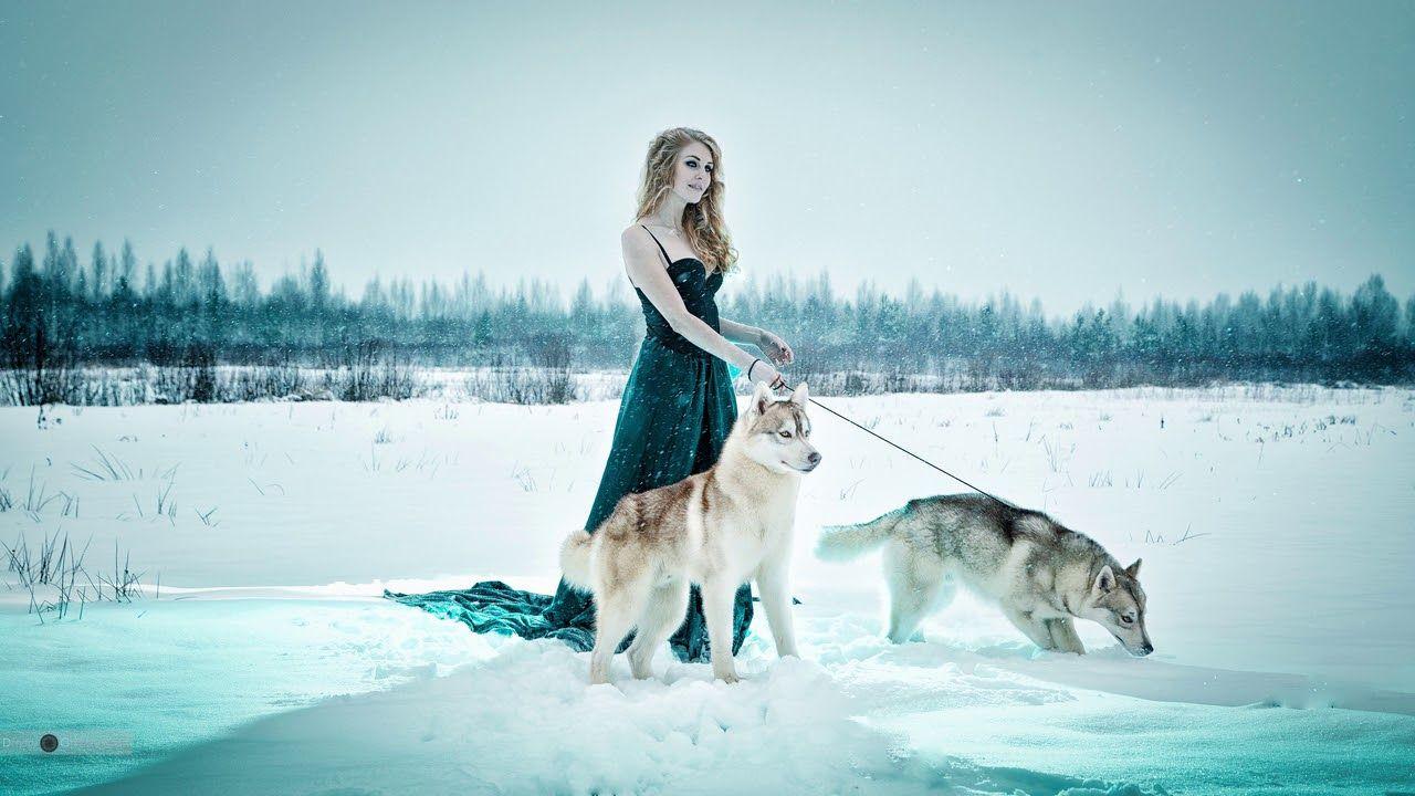 Картинка девушка. Снег, природа, девушка, собаки, зима ...