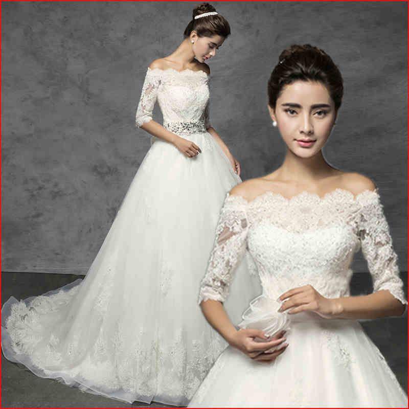 天猫女装品牌旗舰店_The new Korean version of the word shoulder princess lace wedding dress was thin long ...