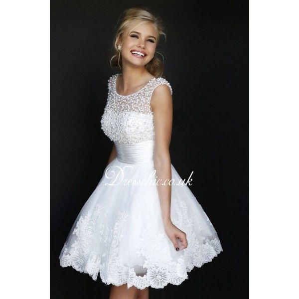 2014 Designer White Lace Cocktail Dress With Beading | Things I like ...