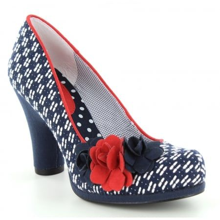 Ruby Shoo Eva Womens Court Shoes - Navy & Red