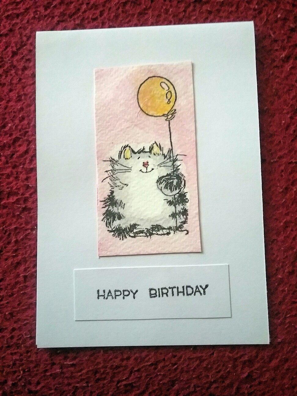 Geburtstagskarte Katze mit Luftballon