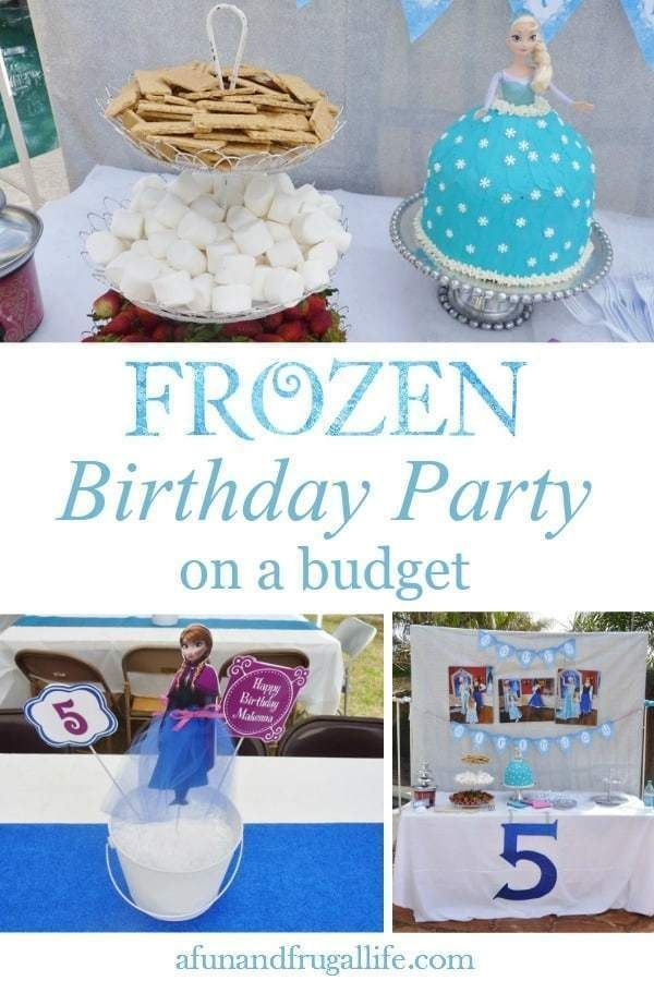 Disney Frozen Birthday Party on a Budget #frozenbirthdayparty Throw a fun Disney Frozen birthday party and stay within your budget with these easy money-saving party ideas! Get inspiration from our simple DIY ideas for Frozen themed decor, food, games, and more. #birthdaypartyideas #frozenparty #budgetpartyideas #frozenbirthdayparty