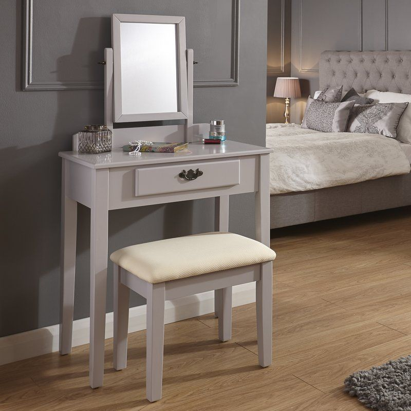 Dressing table set with mirror grey solid wood vanity