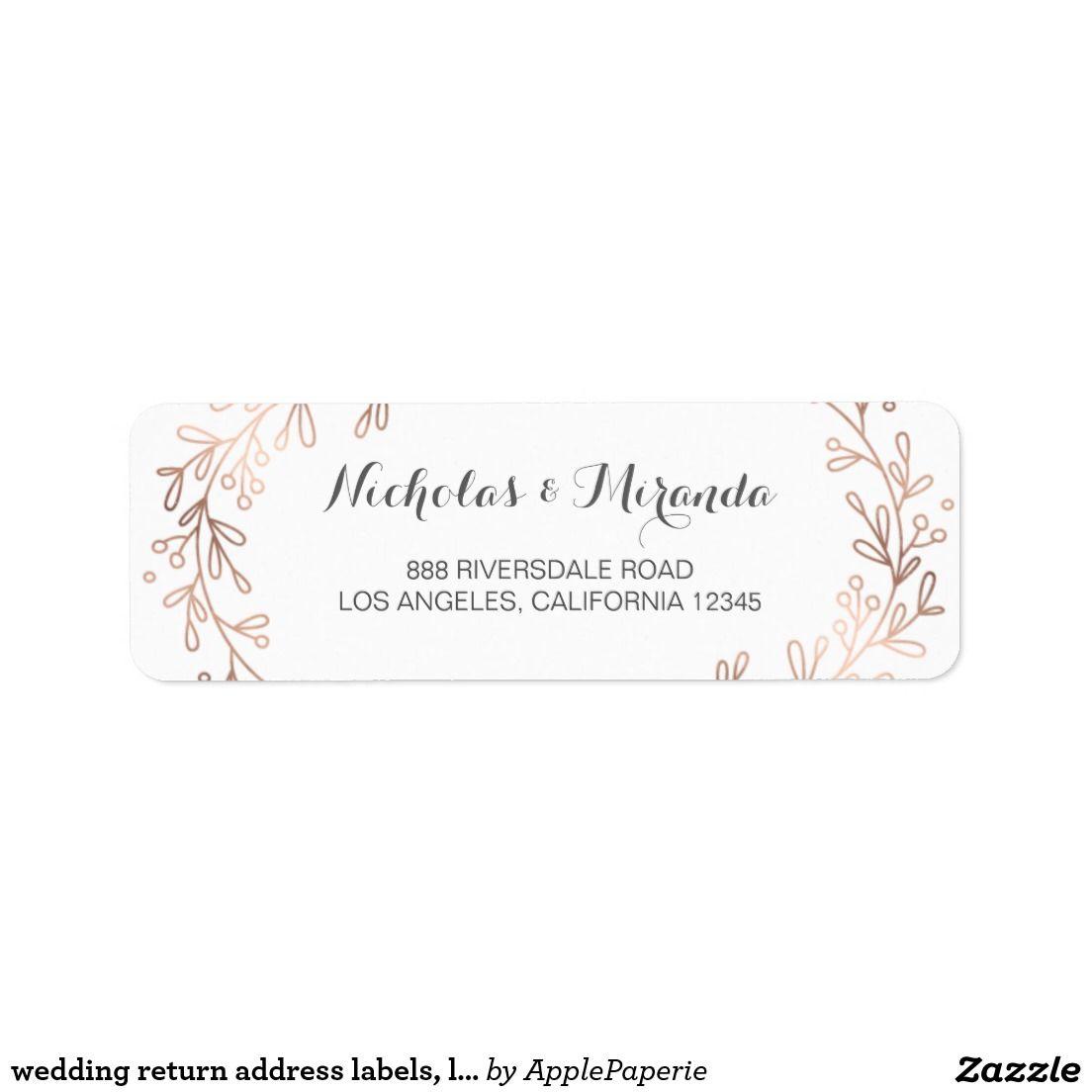 wedding return address labels laurel rose gold label weddings