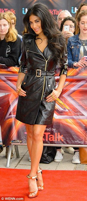 "designerleather: "" Candice Swanepoel in Valentino leather dress """
