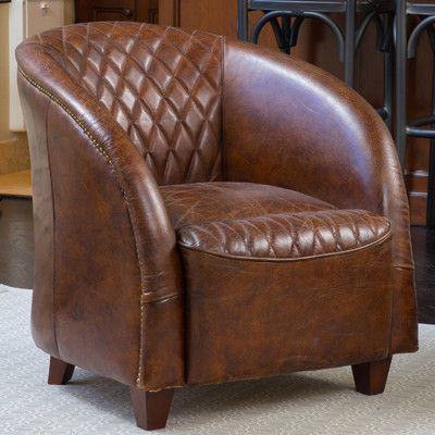 Darby Home Co Wilmette Barrel Chair Products Leather